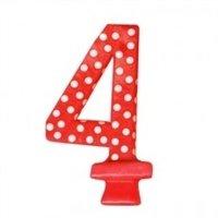 Vela Aniversário Vermelha Poá Branco N4