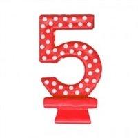 Vela Aniversário Vermelha Poá Branco N5